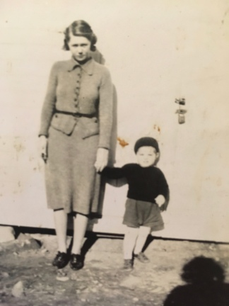With the mother who raised him, Nannie.